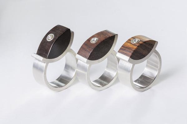 Ringe aus Silber, mit Holz, holz-7